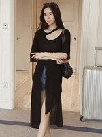 เสื้อแฟชั่นตัวยาวผ่าหน้า ใส่ชิลด์ ชิลด์ สวยหวานสไตล์เกาหลี-1686-สีดำ