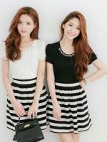 ชุดเดรสแฟชั่น MAYUKI fashions ปักมุกที่คอดูดีมีดีไซน์ ตัวเสื้อมี2 สี ขาว กับดำจร้า
