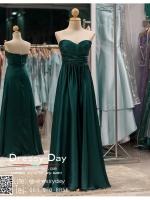 รหัส ชุดราตรี :PF054 ชุดราตรียาวหรูจับจีบช่วงอก เดรสออกงานสีเขียว ชุดไปงานแต่งงานผ้าเครป ชุดแซก สีเขียว เกาะอก เหมาะสำหรับงานแต่งงาน งานกลางคืน กาล่าดินเนอร์