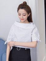 เสื้อแฟชั่นคอปาดแต่งแขนผูกโบว์น่ารักสไตล์เกาหลี-1658-สีขาว