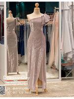 รหัส ชุดราตรียาวคนอ้วน :PK013 ชุดแซก ชุดราตรียาวมีแขน หรู สีชมพู ไหล่เดียว เรียบหรู เหมาะสำหรับงานแต่งงาน งานกลางคืน กาล่าดินเนอร์