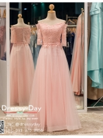 รหัส ชุดราตรียาว :PF176 ชุดราตรียาวสีชมพูมีแขนแนวสวยหวาน งามสง่าดุลเจ้าหญิง เหมาะใส่ออกงานกลางคืน งานแต่งงาน งานกาล่าดินเนอร์ งานเลี้ยง งานพรอม งานรับกระบี่