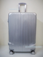 กระเป๋าเดินทางแบบคลิปล็อค fiber+abs ไซส์ 28 นิ้ว ลายเส้นตรง สีเทาเงิน ส่งฟรี