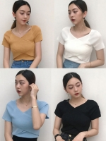 เสื้อไหมพรมผสม แต่งผ้าไขว้ด้านหน้าสวยหวานสไตล์เกาหลี มี 4 สี-1683