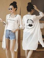เสื้อคลุมแฟชั่นแบบยาว ลายปริ้นท์น่ารักสไตล์เกาหลี-1601-สีขาว