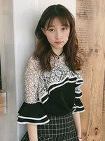 เสื้อครอปแฟชั่นแต่งเก๋ช่วงคอและต้นแขนด้วยผ้าลูกไม้สวยหวานสไตล์เกาหลี-1659-สีดำ