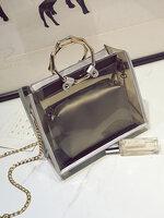 กระเป๋าแฟชั่นทรงเหลี่ยมสวยหรูสไตล์เกาหลี-B025-สีน้ำตาล