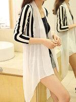 เสื้อคลุมแฟชั่นตัวยาวลายริ้ว แต่งผ้าชีฟองครึ่งตัว ใส่ได้ทุกโอกาส-1555-สีขาว