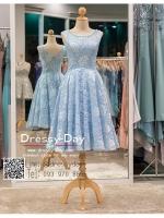 รหัส ชุดราตรี :PFS021 ชุดแซกผ้าลูกไม้งานสวย ชุดราตรีสั้นหรูสีฟ้ามาตกแต่งกริตเตอร์ช่วงเอว สวย สง่า ดูดีแบบเจ้าหญิง ใส่ไปงานแต่งงาน งานกาล่าดินเนอร์ งานเลี้ยง งานพรอม งานรับกระบี่