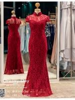 รหัส ชุดกี่เพ้า : KPL048 ชุดกี่เพ้าประยุกต์ผ้าลูกไม้ ชุดกี่เพ้าสวยๆ ราคาถูก ใส่งานหมั้น ยกน้ำชาสีแดง เพิ่มความงามลายลูกไม้งานสวย