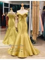 รหัส ชุดราตรี :PF052 -2 ชุดแซก ชุดราตรียาว หรู สีทอง ผ้าไหม สวยเก๋มากๆ เหมาะสำหรับงานแต่งงาน งานกลางคืน กาล่าดินเนอร์