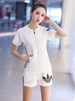 ชุดออกกำลังกายผู้หญิงสีขาว ขาสั้น สไตล์แบรนด์ มี 4 ไซส์ M/L/XL/2XL-1726