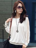 เสื้อยืดทรงค้างคาวแต่งผ้าตาข่าย สวยน่ารักสไตล์เกาหลี-1506-สีขาว