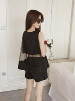 ชุดเซ็ทเสื้อ กางเกงขาสั้น แต่งซีทรูสวยหรูสไตล์เกาหลี-1663-สีดำ
