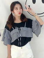 เสื้อแฟชั่นคอกลมแต่งผ้าลายสก๊อตแขนระบายสองชั้นสุดน่ารักสไตล์เกาหลี-1622-สีดำ