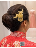 รหัส ปิ่นปักผมจีน : TR048 ขาย ปิ่นปักผมจีน พร้อมส่ง สีทอง เครื่องประดับผมจีน แบบโบราณ เหมาะมากสำหรับใส่ในพิธียกน้ำชา และงานแต่งงานธรรมเนียมจีน