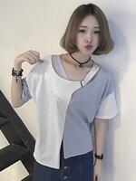 เสื้อแฟชั่นแต่งสองสี แขนสั้นดีไซน์เก๋คอไขว้น่ารักสไตล์เกาหลี-1620-ฟ้าขาว