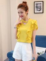 เสื้อแฟชั่นคอวี แต่งสายโช้คเก้อใส่ห่วงติดคอเสื้อดูเก๋ Korea stlye-1672-สีเหลืองมัสตาร์ด