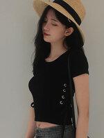 เสื้อครอปแฟชั่นคอกลมแต่งเก๋ช่วงข้างลำตัวใส่เชือกรอยห่วงสวยเก๋สไตล์เกาหลี-1673-สีดำ