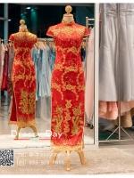 รหัส ชุดกี่เพ้า : KPL022 ชุดกี่เพ้าประยุกต์สำหรับเป็นชุดกี่เพ้าแต่งงานสวยๆ พร้อมส่ง แบบยาว งานปักเลื่อมมือสุดเนี๊ยบ ใส่เป็นชุดพิธียกน้ำชา ชุดส่งตัวเจ้าสาว ชุดถ่ายพรีเวดดิ้งหรือชุดแต่งงานตามธรรมเนียมจีนโบราณสวยหรู สง่า คุณภาพระดับห้องเสื้อ ส