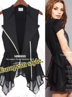 เสื้อคลุมแฟชั่นสไตล์ยุโรปแขนกุดกึงสูทลำลอง - สีดำ