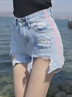 ยีนส์ขาสั้นแต่งขาดๆ แต่งขาดสีชมพูสไตล์เกาหลี-1608-3 size S/M/L