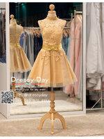 รหัส ชุดไปงานแต่ง : BB069 เดรสออกงาน ชุดราตรีสั้น ชุดไปงานแต่งงาน ชุดเพื่อนเจ้าสาว ชุดแซก สีทอง