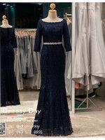 รหัส ชุดราตรียาว : PFL077 ชุดราตรียาวสีน้ำเงิน มีเพรชประดับที่เอว เหมาะใส่เป็นชุดไปงานแต่งาน ชุดเดรสออกงานกลางคืน งานแต่งงาน งานกาล่าดินเนอร์ งานเลี้ยง งานพรอม งานรับกระบี่ แขนยาว