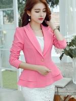 เสื้อสูทผู้หญิงใส่ทำงาน แต่งระบายที่ชายเสื้อสวยสไตล์เกาหลี-1205-สีชมพู