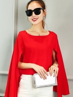 เสื้อแฟชั่นแขนกุดแต่งผ้าคลุมไหล่พริ้วสวย-1359-สีแดง