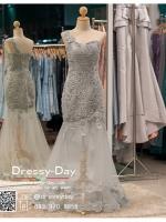 รหัส ชุดราตรี :PF185 ชุดแซกซีทรูตกแต่งลูกไม้ ชุดราตรียาวหรูสีเทาไหล่เฉียงสวยเก๋มากๆ เหมาะสำหรับเป็นชุดไปงานแต่งงาน งานกลางคืน กาล่าดินเนอร์แบบเริ่ดๆ