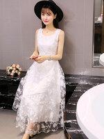 ชุดเดรสแฟชั่นผู้หญิงสีขาวแขนกุดสวย หวานสไตล์เกาหลี-1593-มี 2 ไซส์ M,L