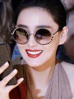 แว่นตาแฟชั่นกันแดด เลนส์กลม แต่งกรอบสุดเก๋สไตล์เกาหลี-G003-สีดำ