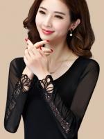 เสื้อแฟชั่นคอกลมแขนยาวชีฟองสุดนุ่ม แต่งเก๋ปลายแขนด้วยผ้าลูกไม้-1495-สีดำ