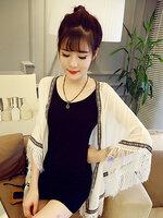 ผ้าคลุมไหล่แฟชั่นชายเสื้อแต่งพู่ สวย เก๋ สไตลเกาหลี-1541-สีขาว