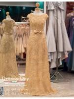 รหัส ชุดราตรียาว : PF005 ชุดราตรียาว เดรสออกงาน ชุดไปงานแต่งงาน ชุดแซก สีทอง สุดหรูประดับโบว์ที่เอว หมาะสำหรับงานแต่งงาน งานกลางคืน กาล่าดินเนอร์