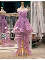 รหัส ชุดราตรีสั้น : PF013A ชุดราตรียาว เดรสออกงาน ชุดไปงานแต่งงาน ชุดแซก สีม่วง หน้าสั้นหลังยาวสวยๆ หมาะสำหรับงานแต่งงาน งานกลางคืน กาล่าดินเนอร์