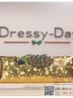 กระเป๋าออกงาน TE036 : กระเป๋าคลัช ออกงานพร้อมส่ง สีทอง สวยเก๋หรูกับที่เปิดเป็นเพชรลายนกยูง ถือออกงานก็สวย สะพายออกงานก็ปังแบบดาราใช้ ราคาถูกกว่าห้าง