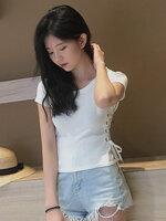 เสื้อครอปแฟชั่นคอกลมแต่งเก๋ช่วงข้างลำตัวใส่เชือกรอยห่วงสวยเก๋สไตล์เกาหลี-1673-สีขาว