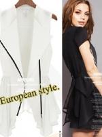 เสื้อคลุมแฟชั่นสไตล์ยุโรปแขนกุดกึงสูทลำลอง - สีขาว
