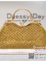 กระเป๋าออกงาน TE068: กระเป๋าออกงานพร้อมส่ง กระเป๋าคลัช วินเทจ สีทอง แบบมีหูหิ้ว ดีเทลคริสตอล มาพร้อมงานปักสุดหรู ราคาถูกกว่าห้าง ถือออกงาน หรือ สะพายออกงาน สวย หรู ดูดีเริ่ดมากค่ะ