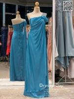 รหัส ชุดราตรี :PFL035 ชุดไปงานแต่งงานจีบผ้าเดรปช่วงอก ชุดแซก ชุดราตรียาว หรู สีฟ้า ไหล่เฉียงตกแต่งคริสตัล สวยเก๋มากๆ เหมาะสำหรับงานแต่งงาน งานกลางคืน กาล่าดินเนอร์
