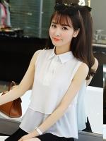 เสื้อแฟชั่น แขนกุดคอปก มี 2 ไซส์-1365-สีขาว