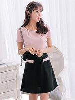 ชุดเดรสแฟชั่นแขนสั้นเสื้อสีชมพูต่อกระโปรงสีดำสวยหวานสไตล์เกาหลี-1634