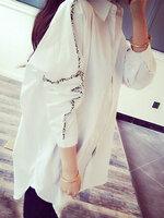เสื้อเชื๊ตแฟชั่น คอปก แขนยาวใส่ง่ายๆ เท่หฺสไตล์เกาหลี-1716-สีขาว