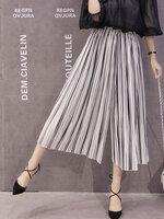 กางเกงพลีทแฟชั่น 5 ส่วน ลายทางขาวดำใส่ได้สวยทุกโอกาส-1692