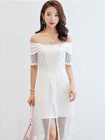 ชุดเดรสแฟชั่น เปิดไหล่ ต่อแขนและกระโปรงผ้าตาข่ายผ่าหน้าและสวยหวานสไตล์เกาหลี-1700-สีขาว