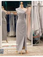 รหัส ชุดราตรียาวคนอ้วน : PK037 ชุดแซก ชุดราตรียาวมีแขน หรู สีเทา ไหล่ปาด เรียบหรู เหมาะสำหรับงานแต่งงาน งานกลางคืน กาล่าดินเนอร์