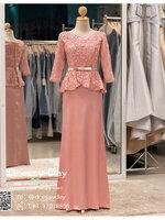 รหัส ชุดราตรี : PFL060 ชุดราตรียาวมีแขนตกแต่งด้วยลูกไม้งานสวย ชุดไปงานแต่งสีชมพพู เรียบหรู เหมาะสำหรับงานแต่งงาน งานกลางคืน กาล่าดินเนอร์ ชุดออกงาน