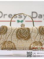 กระเป๋าออกงานพร้อ TE053 : กระเป๋าออกงานพร้อมส่ง สีทอง กระเป๋าคลัชตกแต่งมุขทั้งใบสวยหรูมากค่ะ ราคาถูกกว่าห้าง ถือออกงาน หรือ สะพายออกงาน น่ารักที่สุด